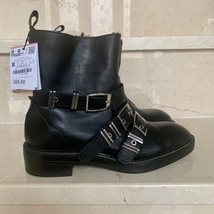 ZARA black combat 'real leather' boots-NEW W TAGS